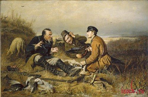 Картина В.Г. Перова «Охотники на привале»