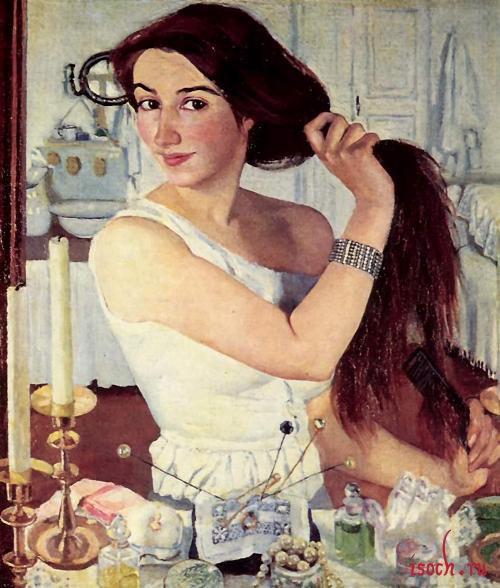 Картина З.Е. Серебряковой «За туалетом. Автопортрет»