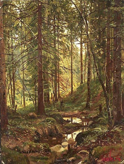 Картина И.И. Шишкина «Ручей в лесу. Сиверская»