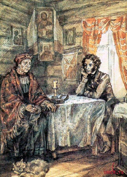 Картина Ю.В. Иванова «Пушкин и Арина Родионовна»