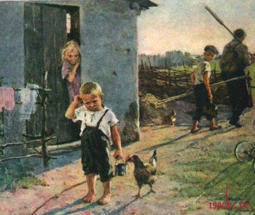 Картина О. Поповича «Не взяли на рыбалку»