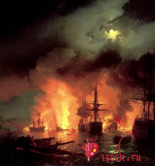 Картина И.К. Айвазовского «Чесменский бой»