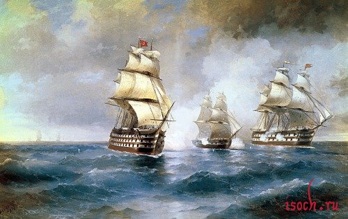 Картина И.К. Айвазовского «Бриг «Меркурий», атакованный двумя турецкими судами»