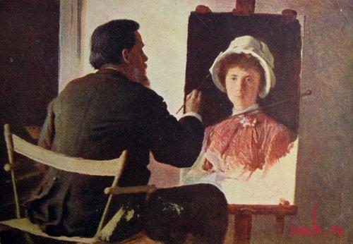 Картина И.Н. Крамского «Крамской, пишущий портрет своей дочери»