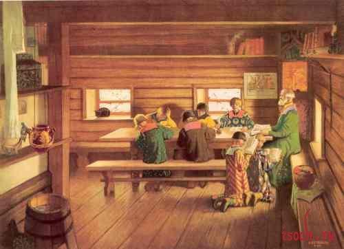 Картина Б.М. Кустодиева «Земская школа в Московской Руси»