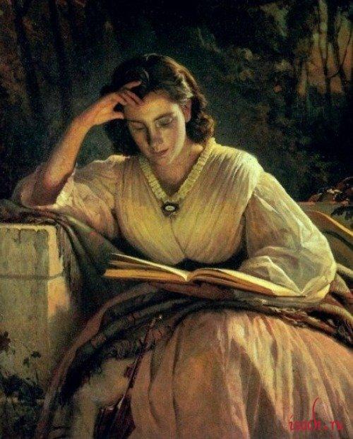 Картина И.Н. Крамского «За чтением. Портрет С.Н. Крамской, жены»