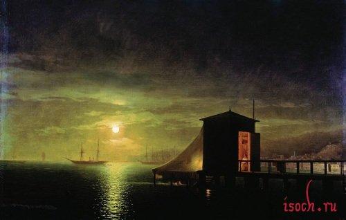 Картина И.К. Айвазовского «Лунная ночь. Купальня в Феодосии»