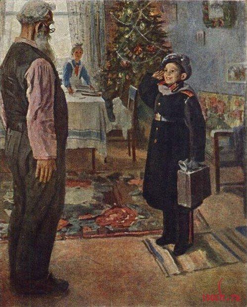 Картина Ф.П. Решетникова «Прибыл на каникулы!»