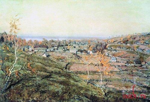 Картина Н.М. Ромадина «Село Хмелевка»