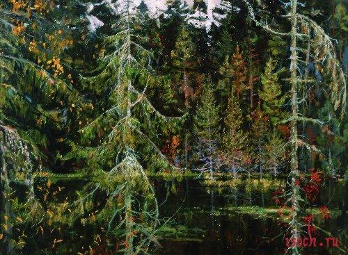 Картина Н.М. Ромадина «Лесное озеро»