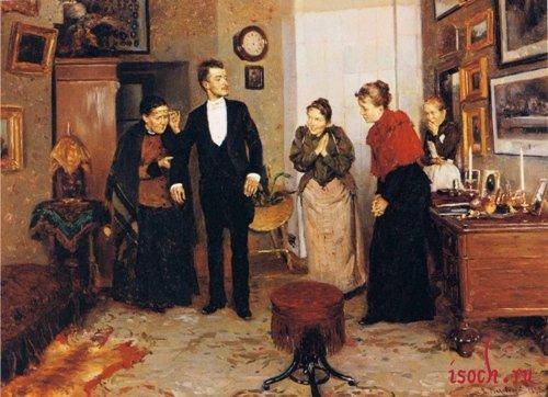 Картина В.Е. Маковского «Первый фрак»