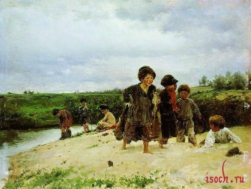 Картина В.Е. Маковского «От дождя»