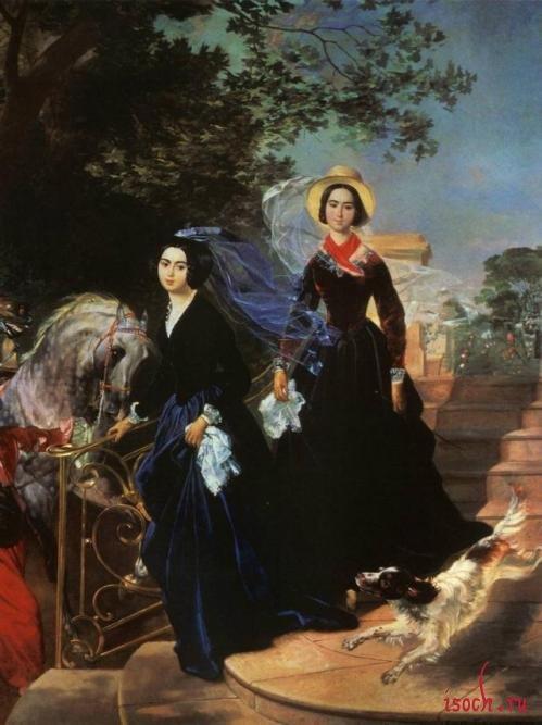 Картина К.П. Брюллова «Портрет сестер Шишмаревых»