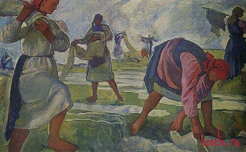 Картина З.Е. Серебряковой «Беление холста»