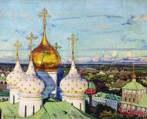 Картина К.Ф. Юона «Купола и ласточки»