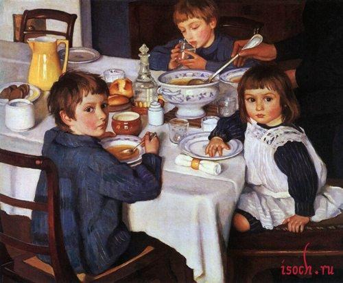 Картина 3.Е. Серебряковой «За завтраком»
