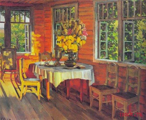 Картина К.Ф. Юона «Августовский вечер. Последний луч. Лигачево»