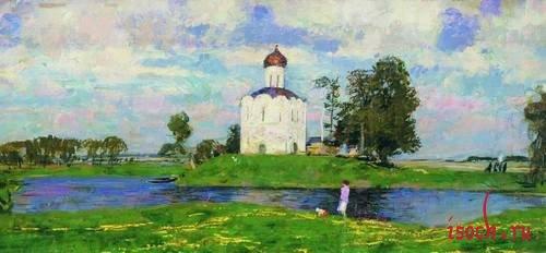 Картина С.В. Герасимова «Церковь Покрова на Нерли»