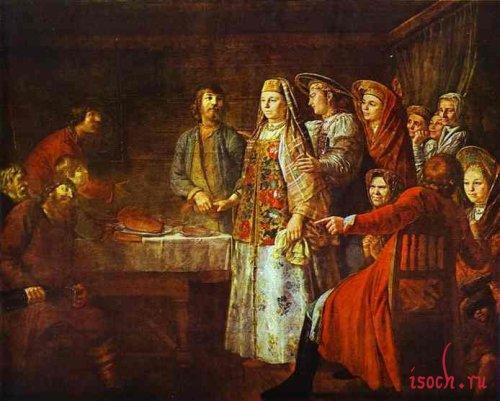 Картина М. Шибанова «Празднество свадебного договора»