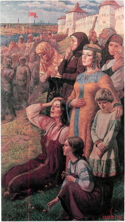 Картина Ю. Ракши «Проводы ополчения»