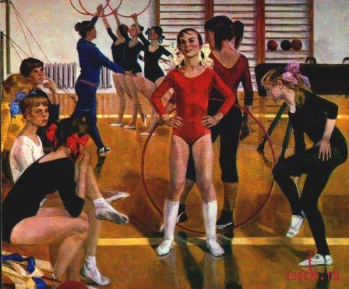 Картина А. Сайкиной «Детская спортивная школа»