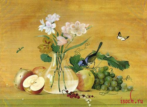 Картина Ф. Толстого «Цветы, фрукты, птица»