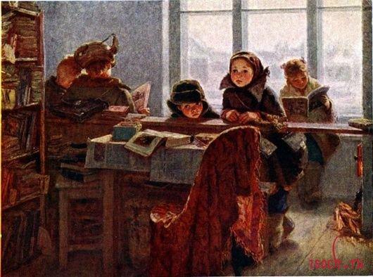 Картина И.В. Шевандроновой «В сельской библиотеке»