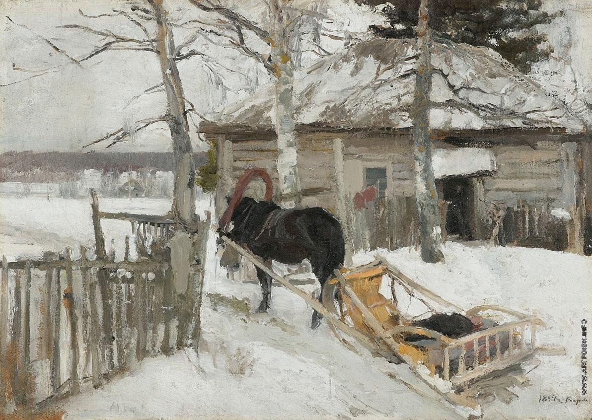 Картина К. Коровина «Зима»