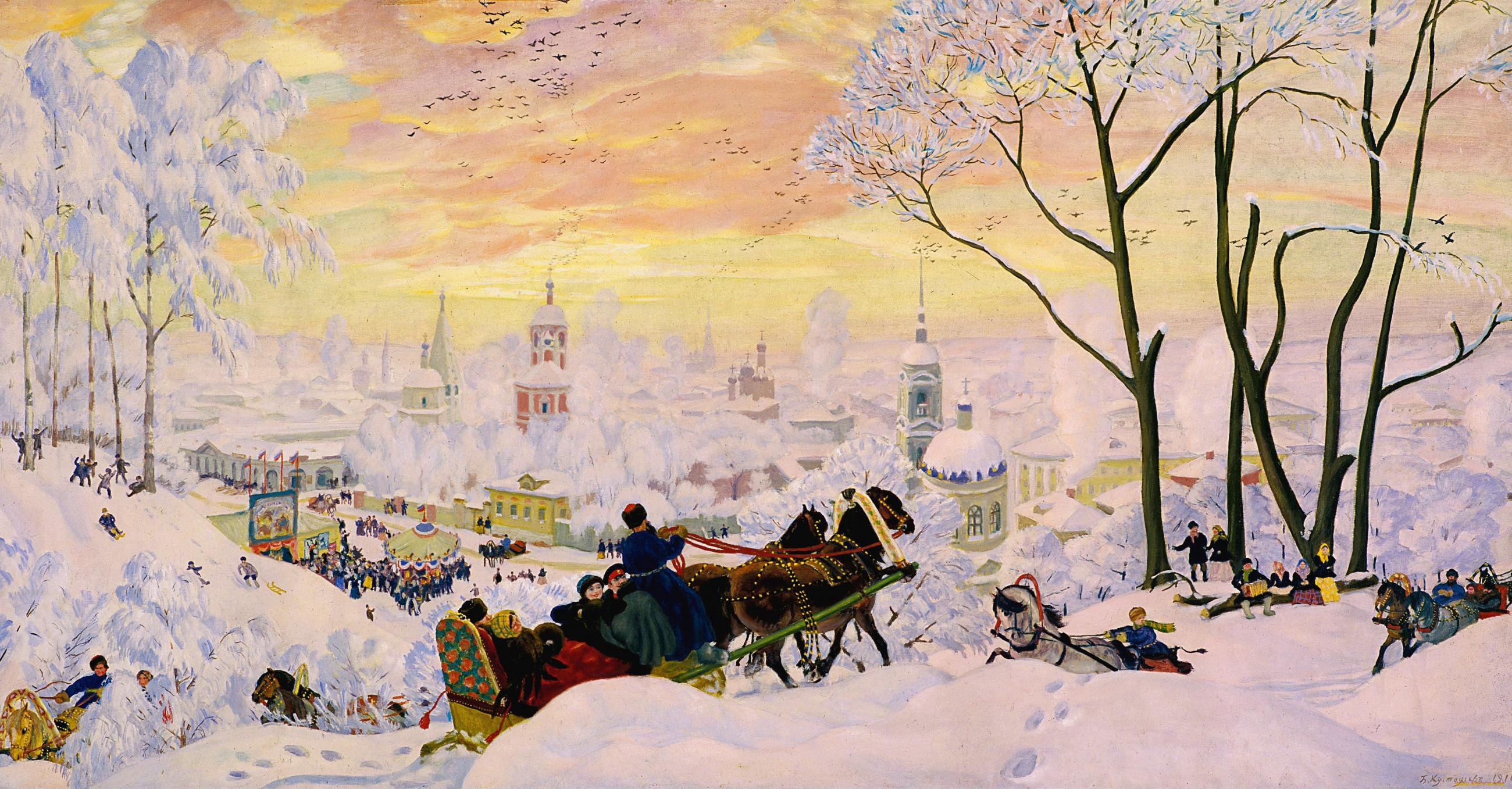 Картина Б.М. Кустодиева «Масленица» (2 вариант)