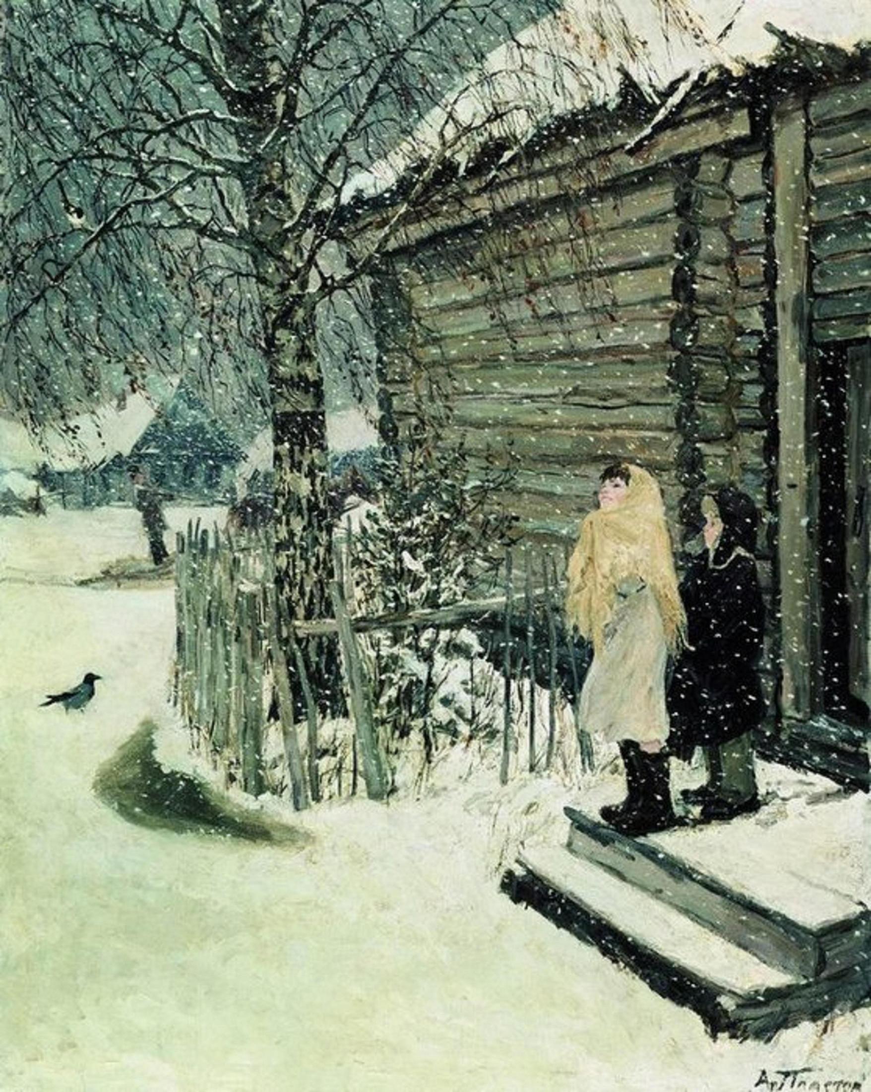 Картина А. А. Пластова «Первый снег»