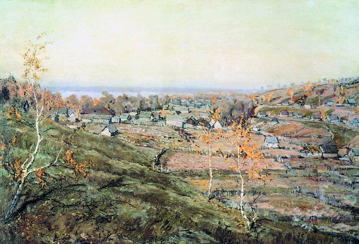 Картина Н.М. Ромадина «Село Хмелевка» (2 вариант)