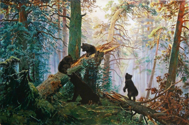 Картина И.И. Шишкина «Утро в сосновом лесу» (2 вариант)