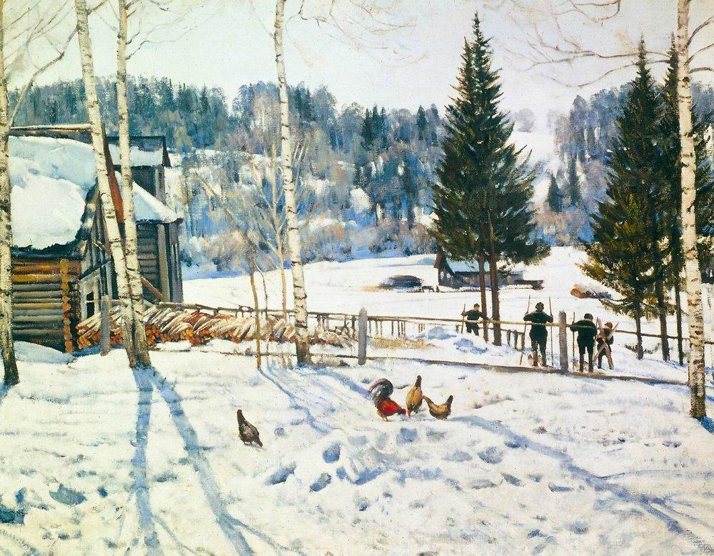 Картина К.Ф. Юона «Конец зимы. Полдень» (2 вариант)