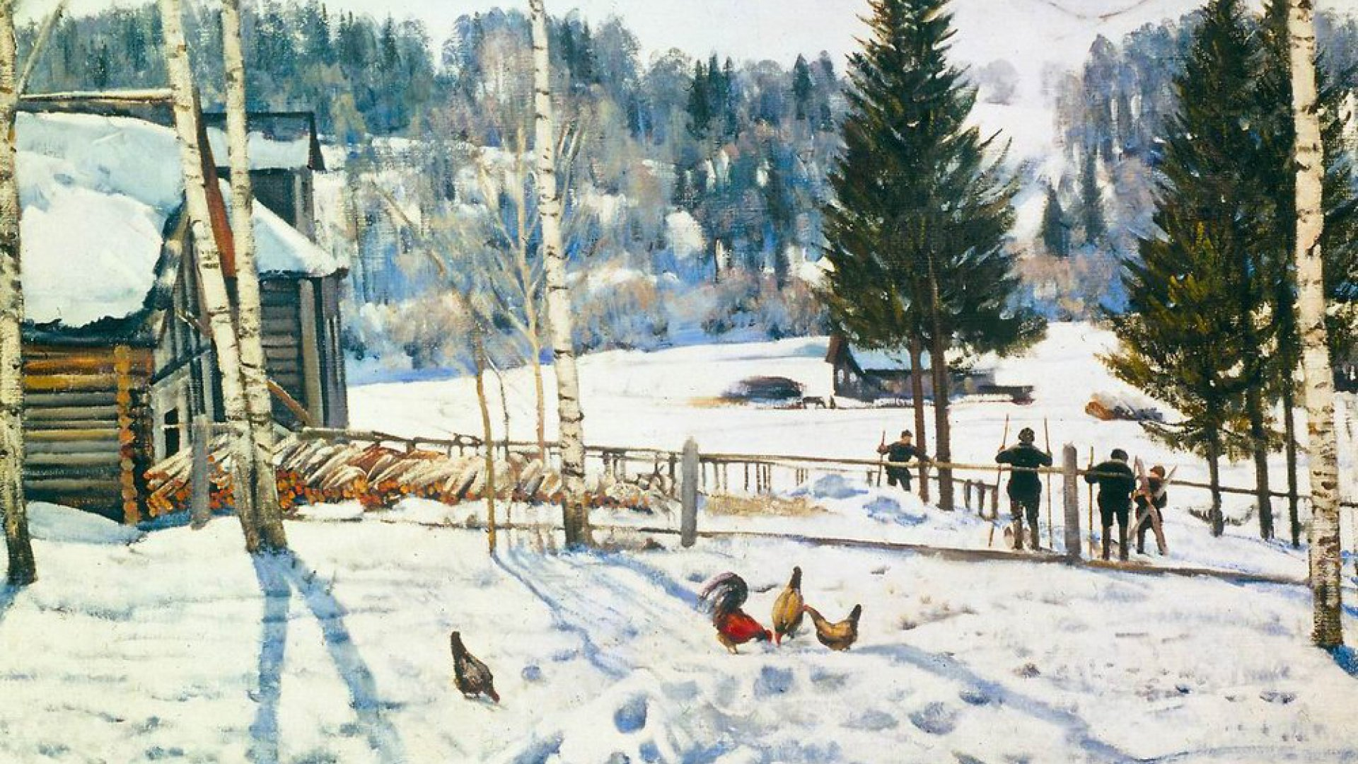 Картина К.Ф. Юона «Конец зимы. Полдень. Лигачево» (1 вариант)